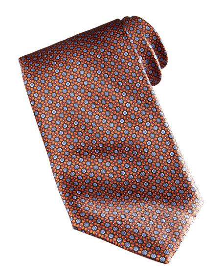 Floral Pattern Silk Tie, Orange