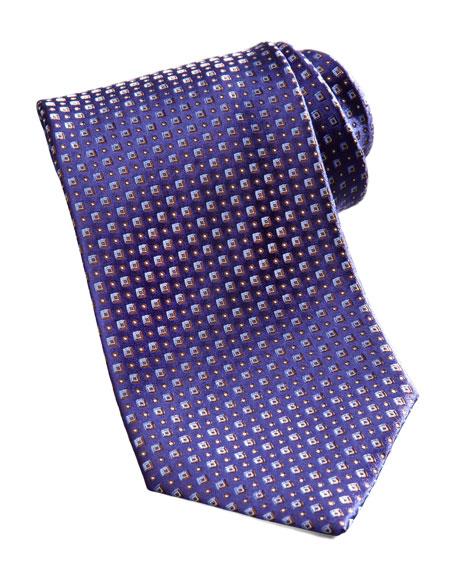 Tonal Neat Silk Tie, Navy