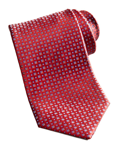 Square Neat Silk Tie, Red