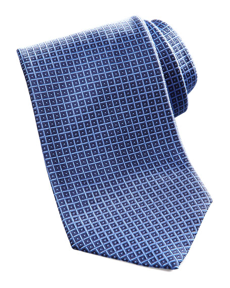 Geometric Square Silk Tie, Navy