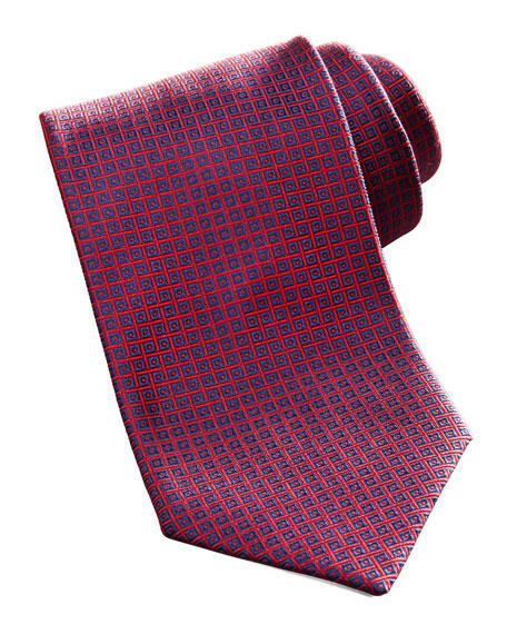 Geometric Square Silk Tie, Navy