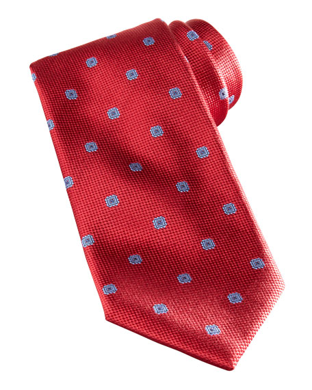 Textured Neat with Squares Silk Tie, Red