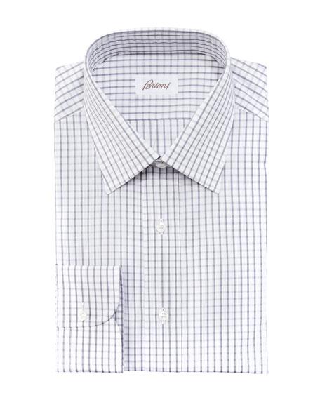 Check Dress Shirt, Gray/White