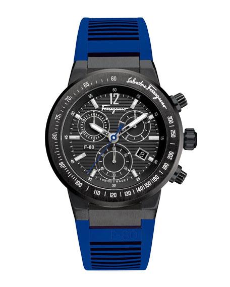 Rubber-Strap Chronograph Watch, Blue
