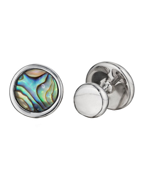 Abalone Circle Cuff Links