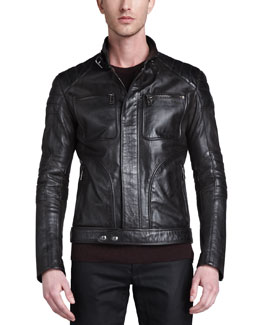 Belstaff Weybridge Hand-waxed Leather Bomber Jacket