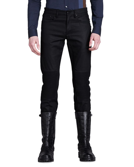 Blackrod Raw Denim Moto Jeans, Black