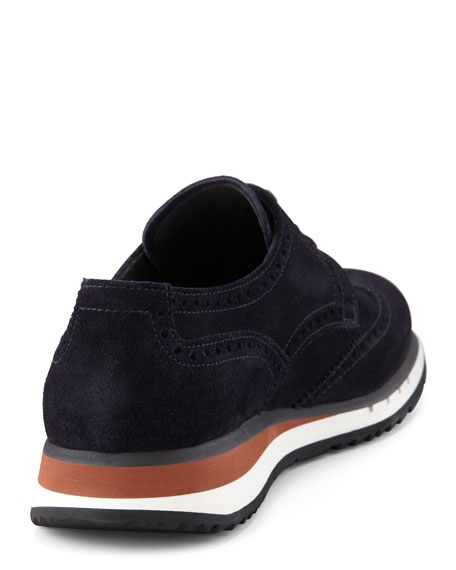 Suede Wingtip Sneaker, Blue
