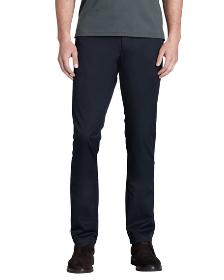 Flat-Front Taper-Fit Pants, Navy