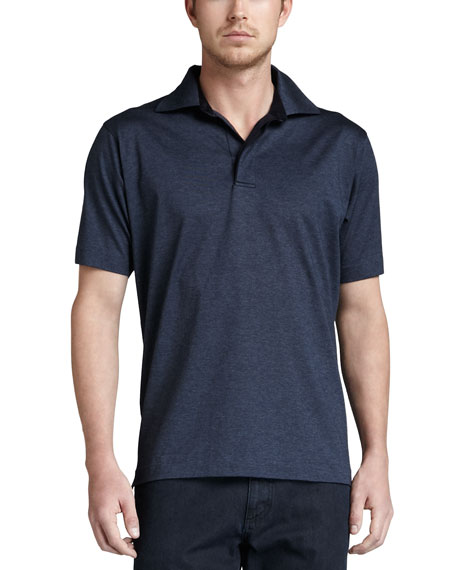 Birdseye Polo, Navy/Charcoal