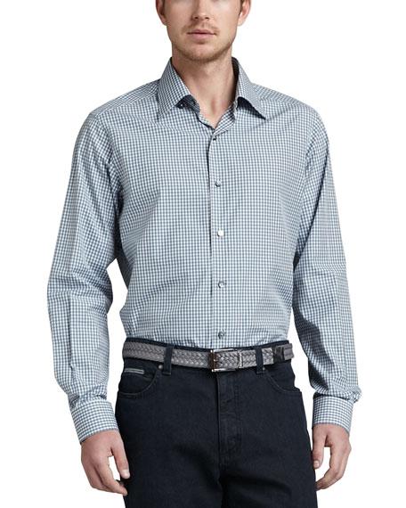 Mini-Gingham Sport Shirt, Sage