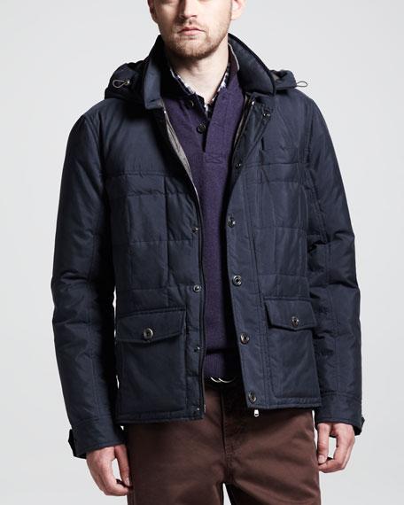 Hooded Silk Down Jacket