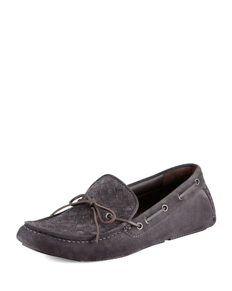 Suede Woven-Front Driver, Gray