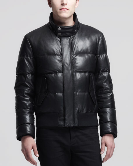 official store most reliable new selection Leather Puffer Jacket Black