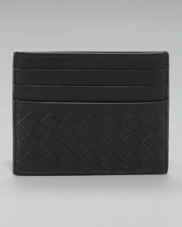 Flat Woven Card Case, Black