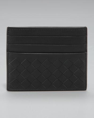 Flat Woven Card Case, Black