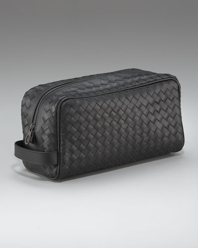 Woven Leather Dopp Kit, Black