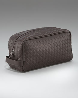 Woven Leather Dopp Kit, Brown