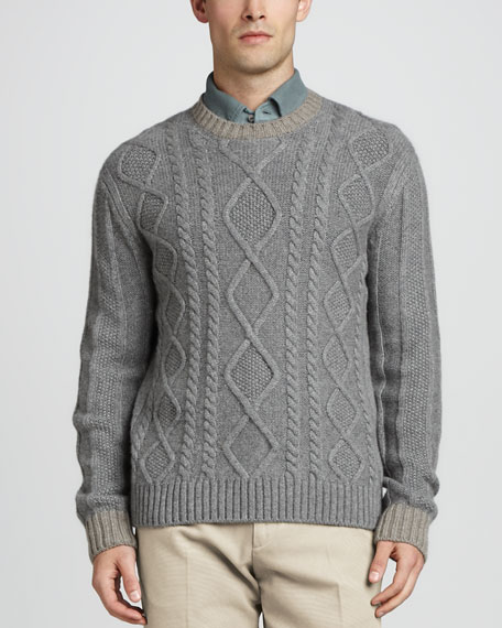 Cable-Knit Cashmere Sweater, Gray