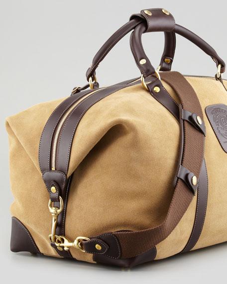 Cavalier II Suede Duffel Bag, Fawn/Walnut