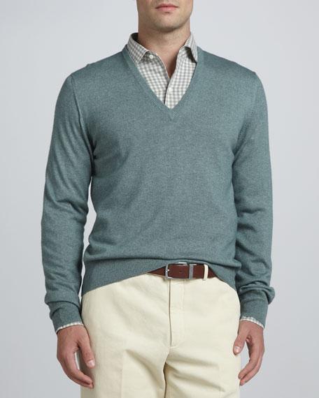 Anytime V-Neck Sweater, Green