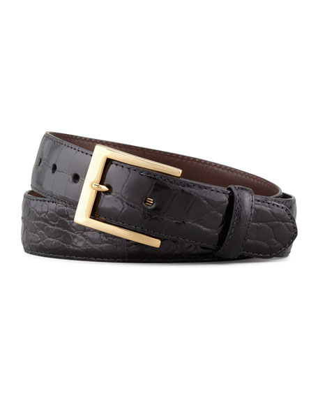 W. Kleinberg Glazed Alligator Belt, Black