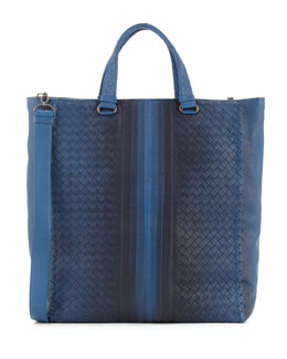 Bottega Veneta Woven Tote with Ombre Detail, Blue