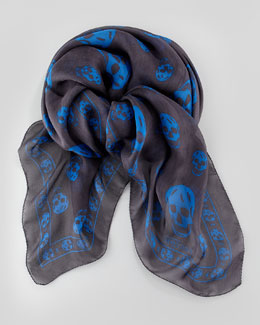 Men's Skull Chiffon Scarf, Gray/Blue