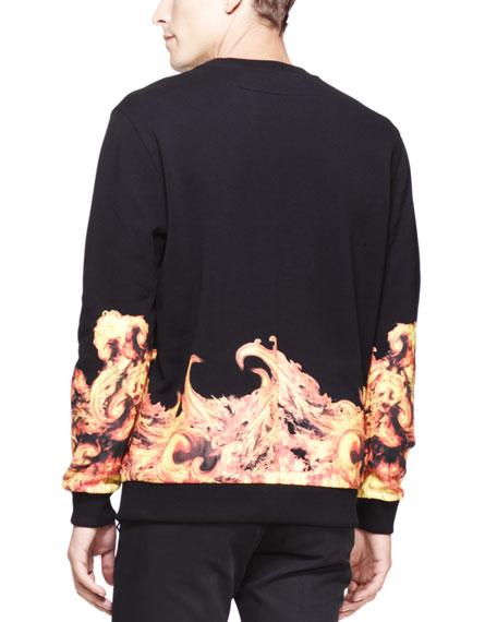 Flame-Print Cuban Sweatshirt, Black