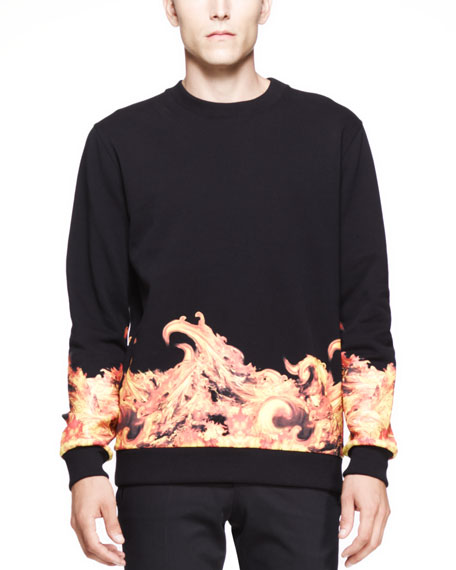 Flame-Print Cuban Sweatshirt, Black