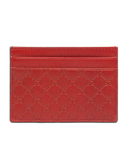 Microguccissima Leather Money Clip, Red