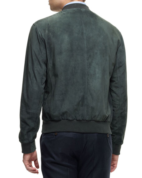 Suede Bomber Jacket, Green