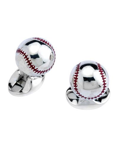 Sterling Silver Baseball Cuff Links