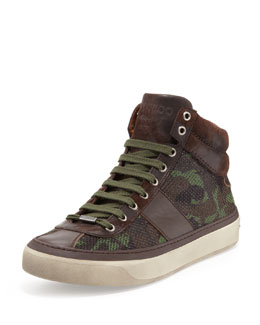 Jimmy Choo Belgravia Men's Camo-Glitter High-Top Sneaker, Green