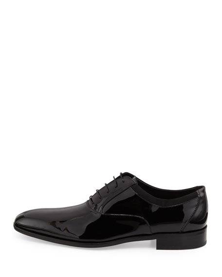 Patent Lace-Up Oxford, Black