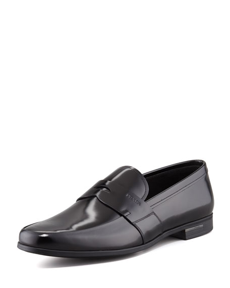 Polished Leather Penny Loafer, Black