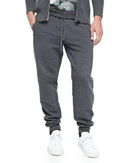 Dolce & Gabbana Zip-Pocket Sweatpants, Melange Gray