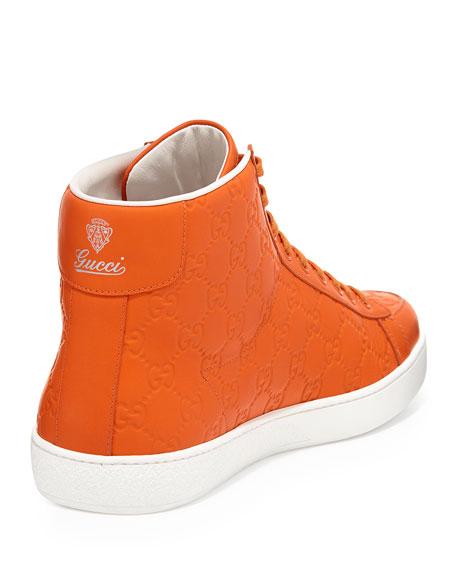 4c8134d8e Gucci Brooklyn Guccissima High-Top Sneaker, Orange