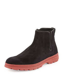 Phil Suede Chelsea Boot, Black/Red