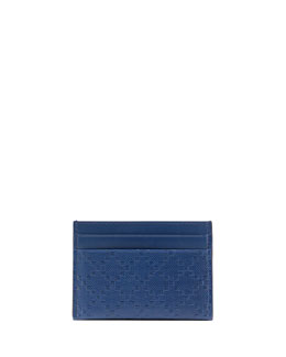 Diamante Leather Card Case, Blue