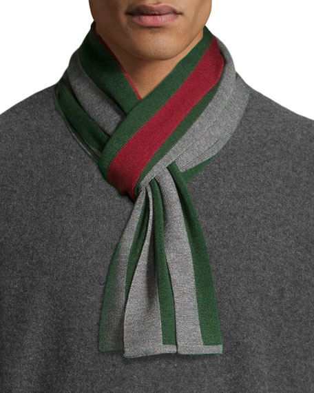 Striped Wool-Silk Crook Scarf, Gray