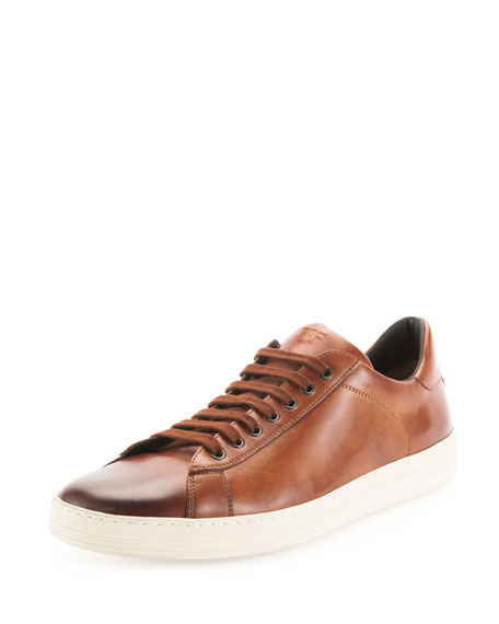 Russel Calf Leather Low-Top Sneaker, Light Brown
