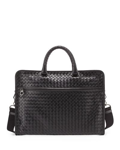 Men's Small Woven Leather Briefcase, Black