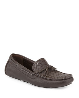 Woven Leather Driver, Espresso