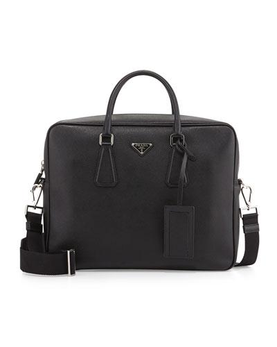 Saffiano Logo Briefcase with Shoulder Strap, Black