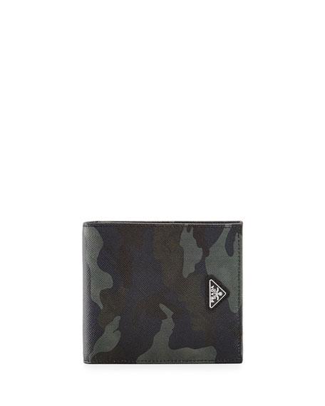 Prada Camo-Print Saffiano Leather Wallet, Blue
