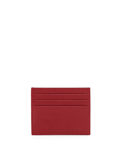 Saffiano Card Case, Red