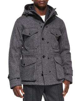 Moncler Willie Herringbone Hooded Jacket, Gray