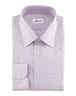Micro-Check Dress Shirt, Bordeaux/Blue