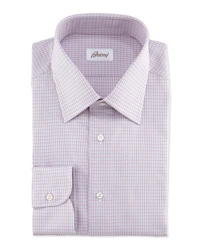 Micro-Check Dress Shirt, Bordeaux/Blue